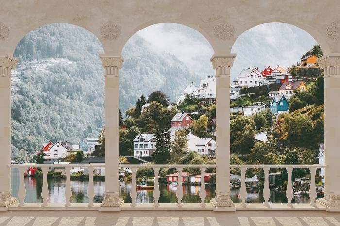 Papier peint vinyle Terrasse - Monts Brumeux. -