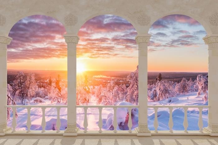 Papier peint vinyle Terrasse - coucher du soleil Scandinavie -