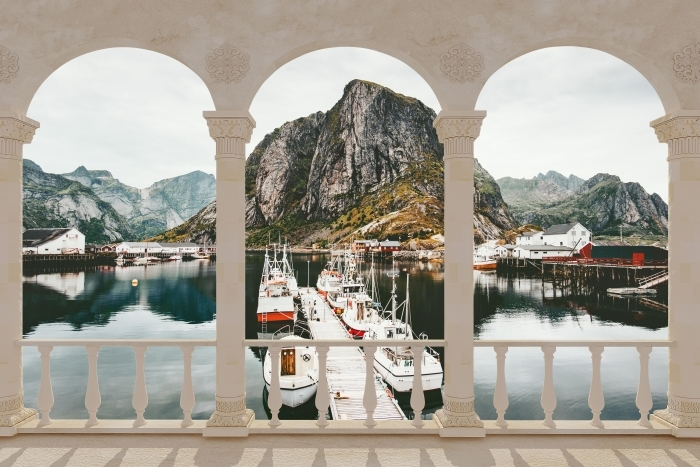 Papier peint vinyle Terrasse - Paysage. Norvège -