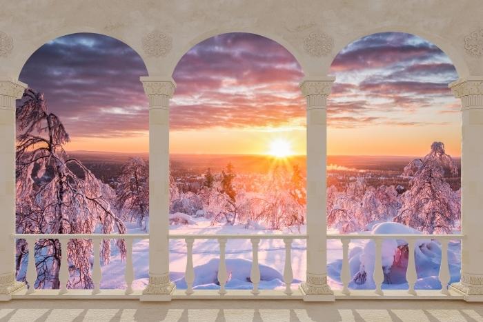 Fototapeta winylowa Taras - Skandynawia. Krajobraz o zachodzie słońca - Tarasy