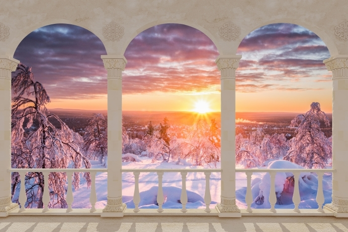 Papier peint vinyle Terrasse - Scandinavie. Paysage au coucher du soleil -