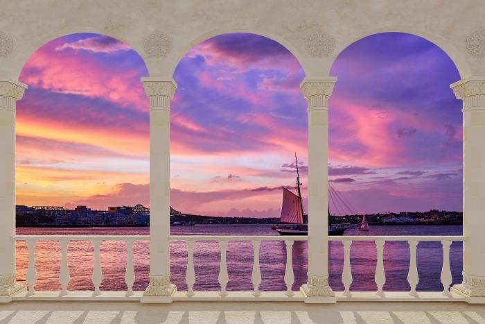 Vinyl-Fototapete Terrasse - Erstaunlicher Sonnenuntergang am Hafen von Boston -