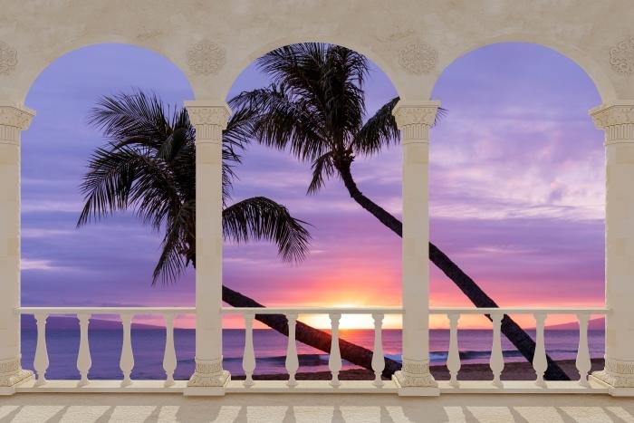 Papier peint vinyle Terrasse - palmiers -