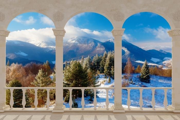 Fototapeta winylowa Taras - Śnieżny krajobraz - Tarasy