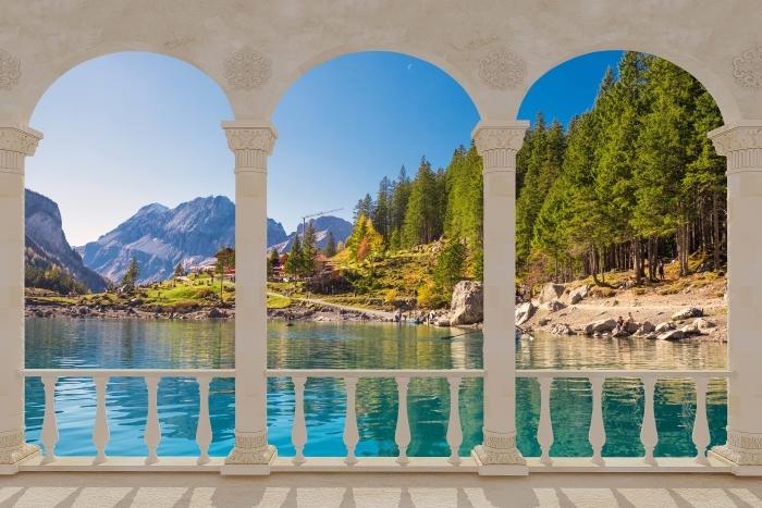 Papier peint vinyle Terrasse - lac bleu. Suisse. -