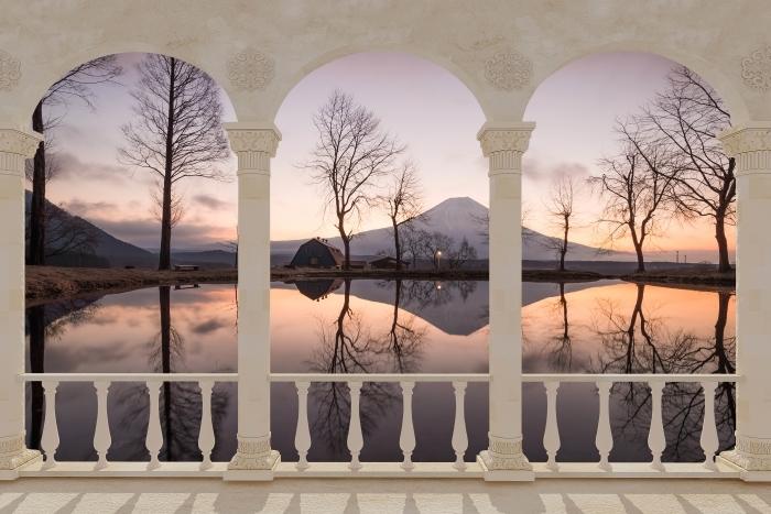 Papier peint vinyle Terrasse - Mont Fuji -