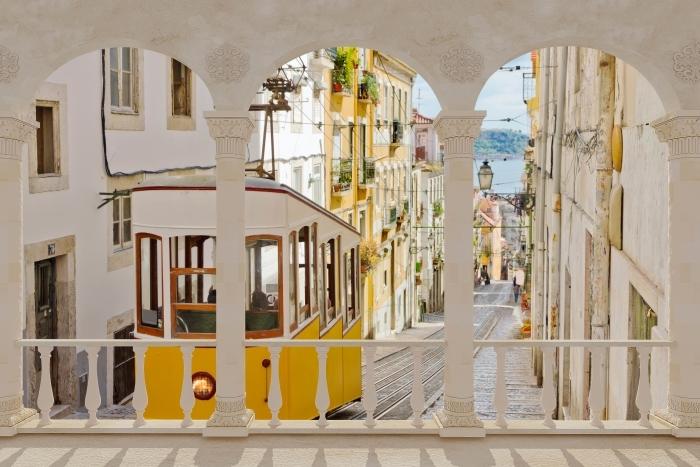 Carta da Parati in Vinile Terrazza - Lisbona. -