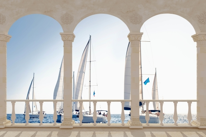 Terrace - yachts with white sails Pixerstick Sticker - Terraces