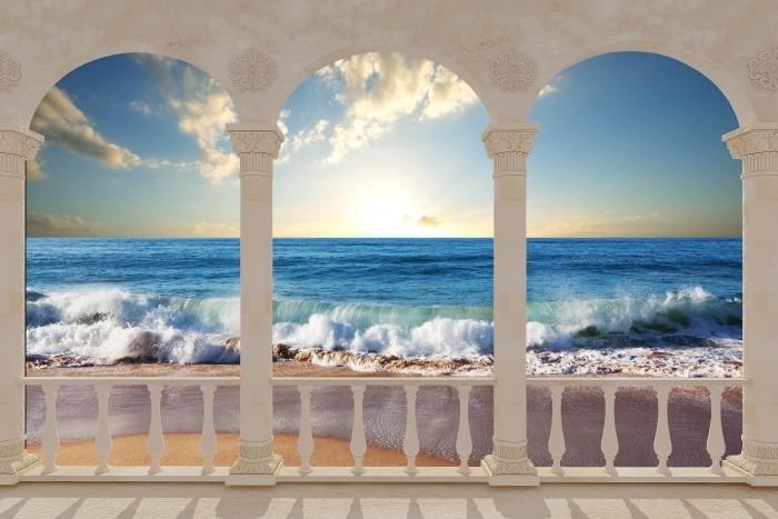 Fototapeta winylowa Taras - Morze. Zachód słońca. - Tarasy