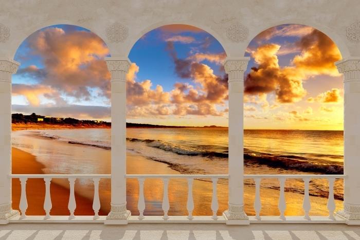 Papier peint vinyle Terrasse - Coucher de soleil sur la plage -