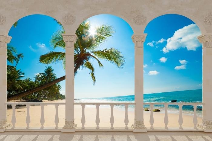Fotomural Estándar Terraza - Playa tropical -