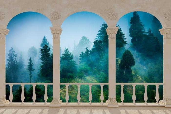 Papier peint vinyle Terrasse - Brouillard -