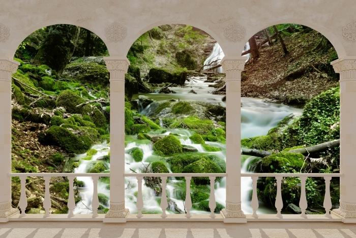 Papier peint vinyle Terrasse - Forêt et chute d'eau -