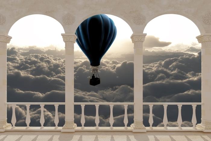 Fototapeta winylowa Taras - Balon na niebie - Tarasy