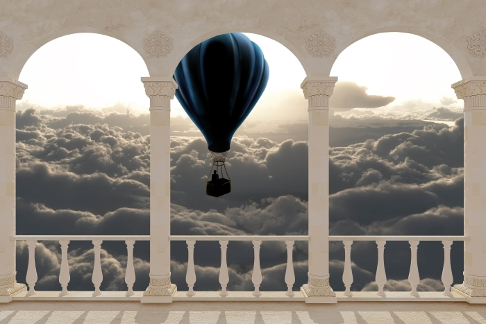 Papier peint vinyle Terrasse - ballon dans le ciel -