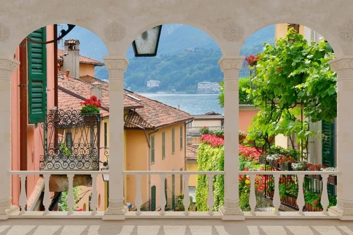 Papier peint vinyle Terrasse - ville pittoresque en Italie -