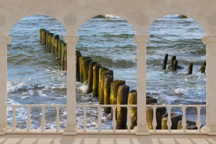 Papier peint vinyle Terrasse - Coucher de soleil sur la mer Baltique -