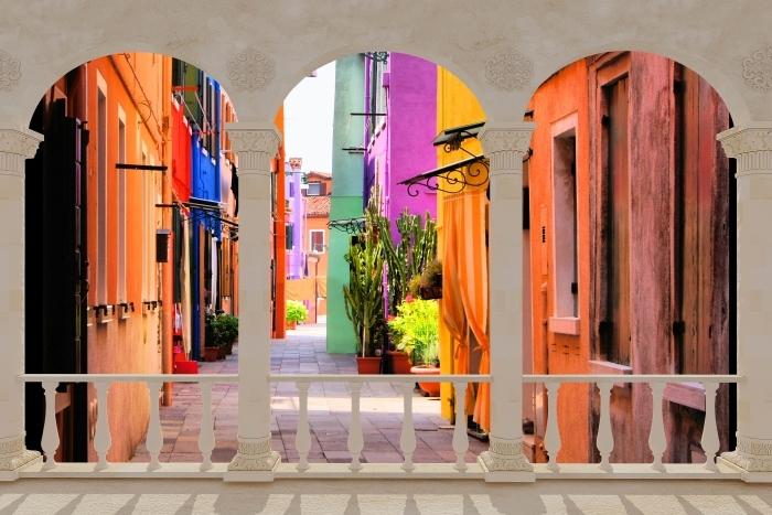 Papier peint vinyle Terrasse - rue colorée à Burano. Italie. -