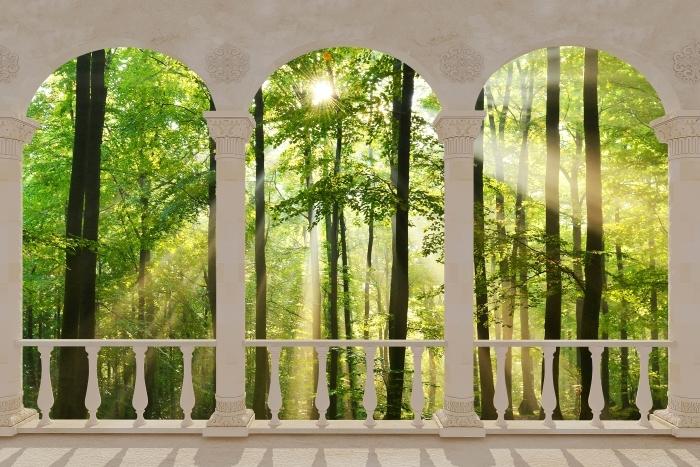 Papier peint vinyle Terrasse - Forêt -