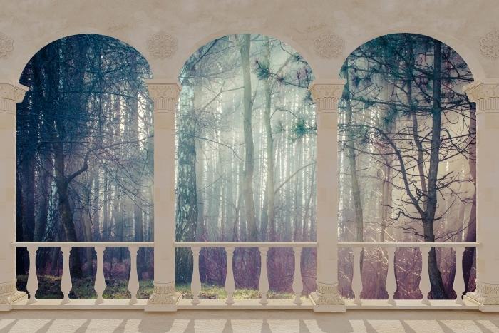 Papier peint vinyle Terrasse - Forêt dans le brouillard -