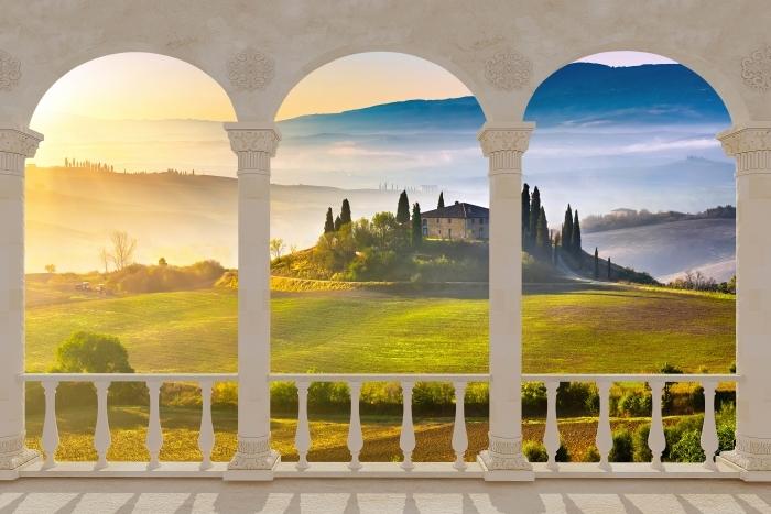 Papier peint vinyle Terrasse - Toscane à l'aube -