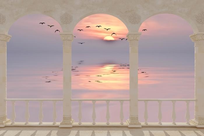 Papier peint vinyle Terrasse - Coucher de soleil -