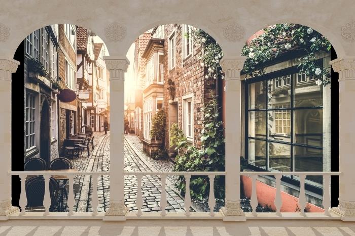 Papier peint vinyle Terrasse - Vieilles rues -