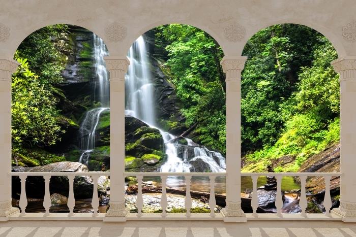 Fototapeta winylowa Taras - Wodospad w lesie - Tarasy