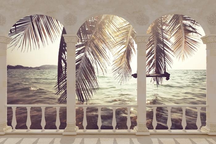 Papier peint vinyle Terrasse - plage tropicale -