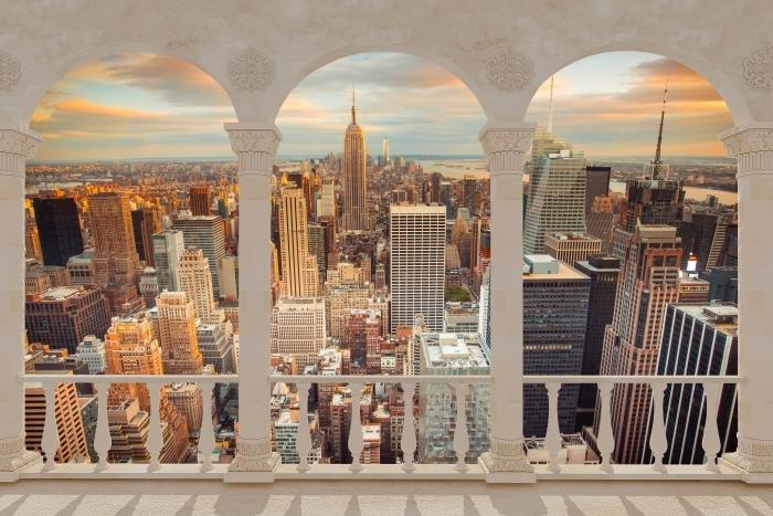 Papier peint vinyle Terrasse - Vue sur le coucher du soleil à New York -