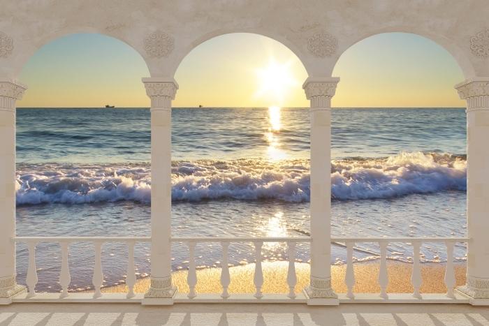 Papier peint vinyle Terrasse - bord de mer d'été -