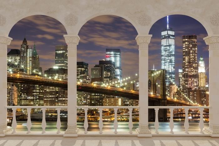Papier peint vinyle Terrasse - Pont de Brooklyn -