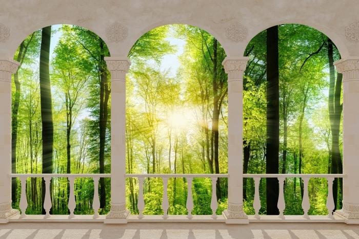 Vinyl-Fototapete Terrasse - Wald -