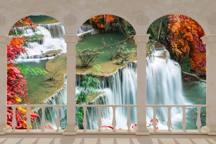 Terrace - Waterfall in tropical forest Vinyl Wall Mural - Terraces