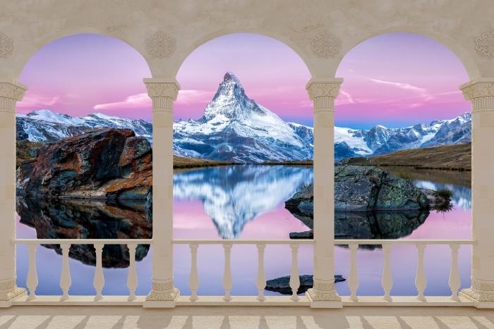 Papier peint vinyle Terrasse - lac et montagnes -