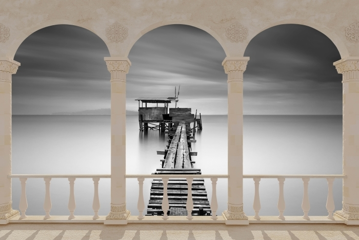 Vinyl Fotobehang Terras - houten pier -