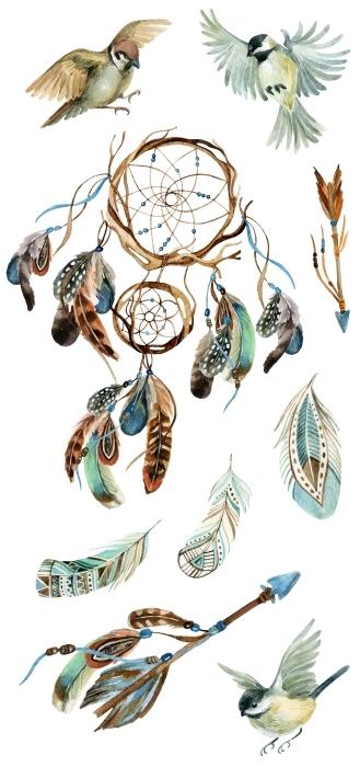 Feather motifs Sticker set - Sticker sets