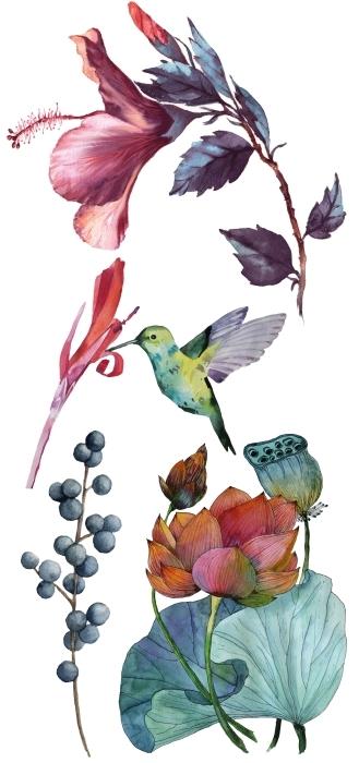 Akwarelowe kwiaty Zestaw naklejek - Zestawy naklejek