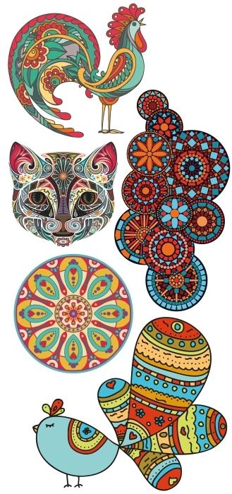 motifs rustiques Paquet de stickers - PAQUETS DE STICKERS