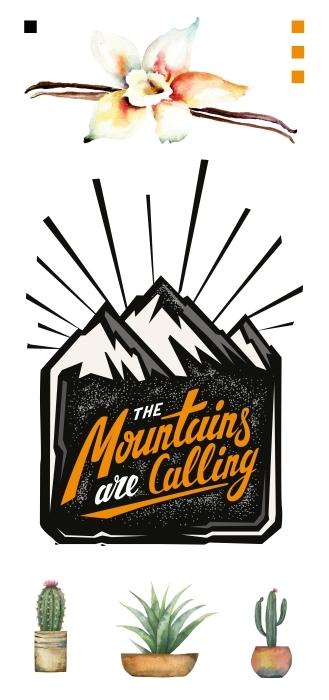 Montagnes et fleurs Paquet de stickers - PAQUETS DE STICKERS