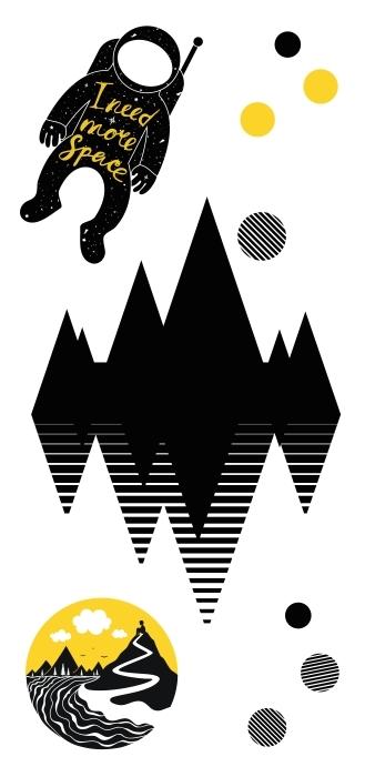 Géométrie noire et jaune Paquet de stickers - PAQUETS DE STICKERS