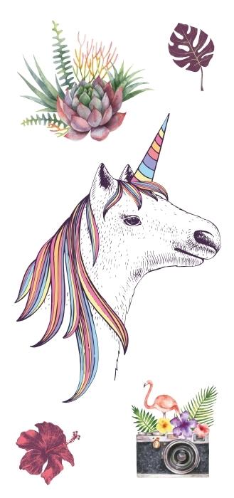 Un encantador unicornio y flores Set de vinilos - SETS DE VINILOS