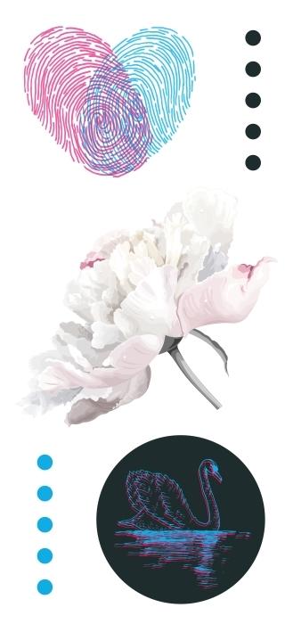 Romantyczne kwiaty Zestaw naklejek - Zestawy naklejek