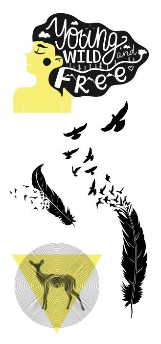 Czarno-żółty Zestaw naklejek - Zestawy naklejek