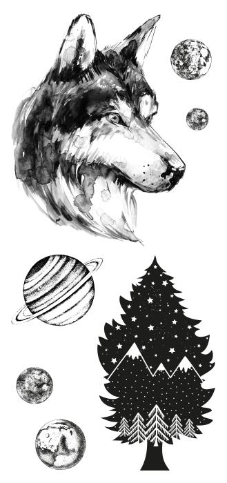Ein Wolf im Wald Aufkleber-Set - AUFKLEBER-SETS