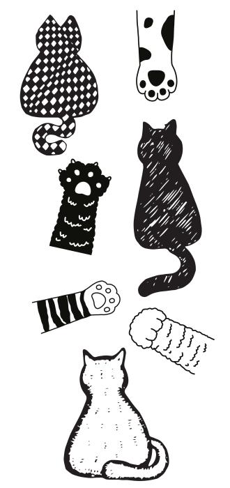 Zwart-witte katten Stickerset - STICKERSETS