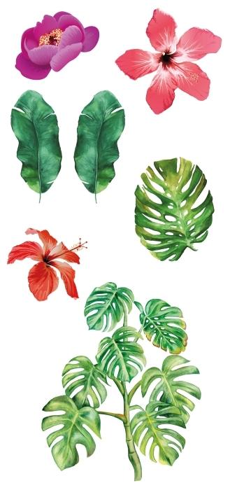 Blumen mit Wasserfarben gemalt Aufkleber-Set - AUFKLEBER-SETS