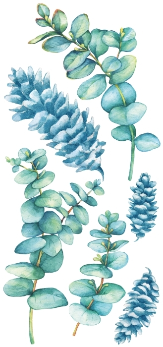 Turquoise Blätter Aufkleber-Set - AUFKLEBER-SETS