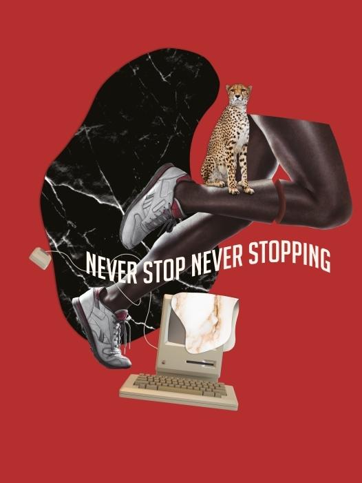 Pixerstick Sticker Stop nooit. Geef nooit op. -