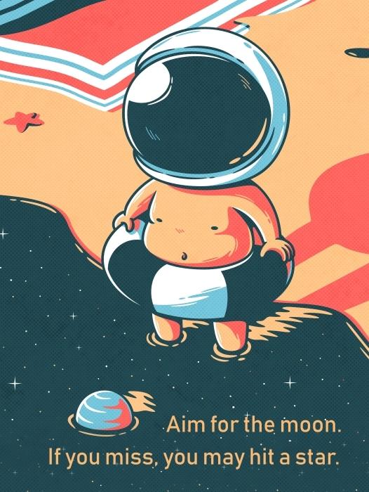 Pixerstick Sticker Richt je op de maan. Als je mist, kun je alsnog een ster raken. - W. Clement Stone -
